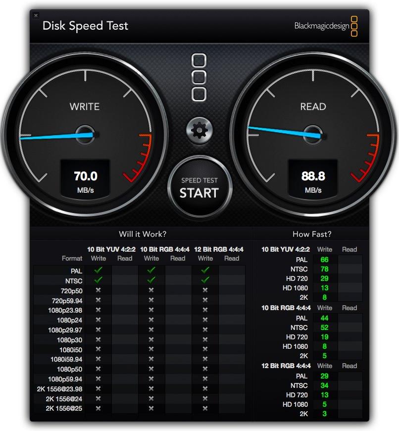 有線接続でのNASの速度計測