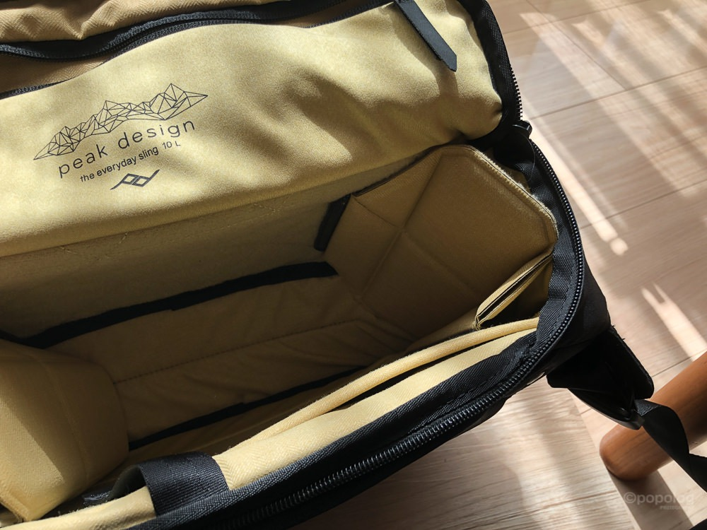 Peak Design Everyday Sling 10L 仕切りを寄せる例