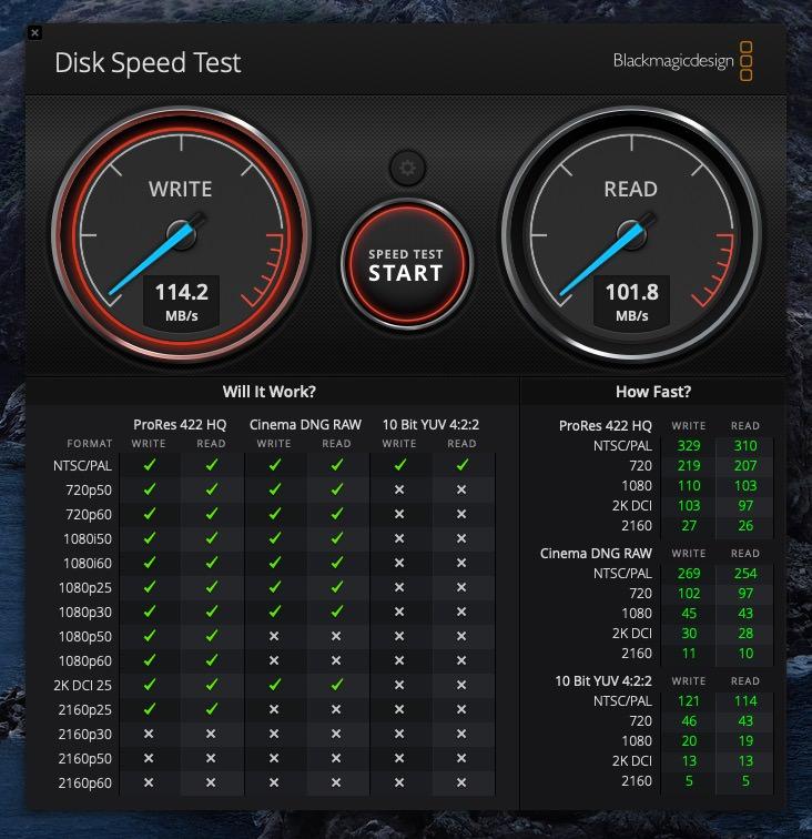 MacとNASのSMB接続での速度計測の結果