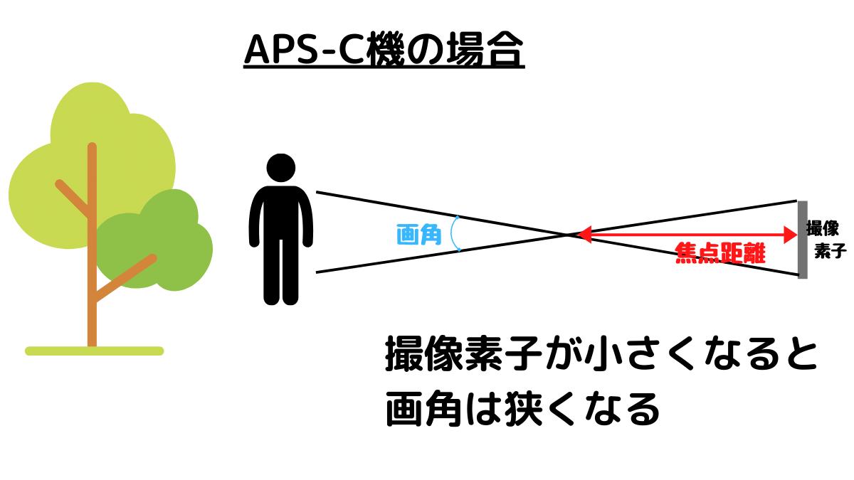 APS-C機の場合は撮像素子が小さいので画角が狭くなる